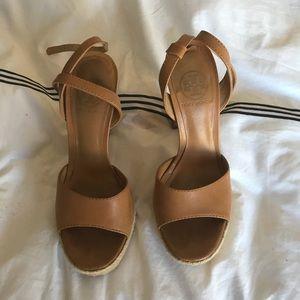 Tory Burch camel wedge heels.